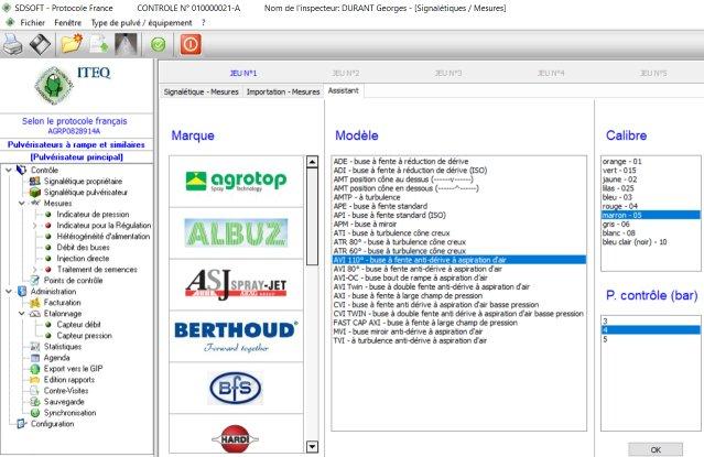 Contrôle du débit de buses - base de données buses